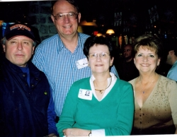 b.kerr, norris, ? and trish  WJ66 40th reunion 1996